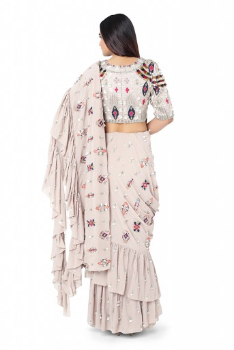 PS-FW623-A-1  Grey Colour Crepe Choli with Georgette Frill Saree and Chantone Petticoat