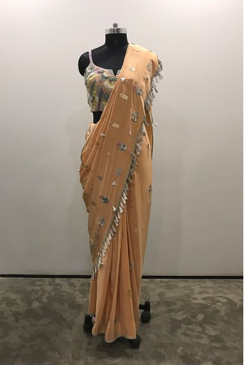PS-FW507/H/1  Grey Colour Crepe Choli with Peach Colour Georgette Saree