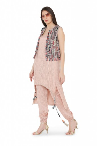 PS-FW707-A-1  Grey Colour Georgette Jacket with Rose Pink Colour Chanderi Stripe High-Low Kurta and Jogger Pant