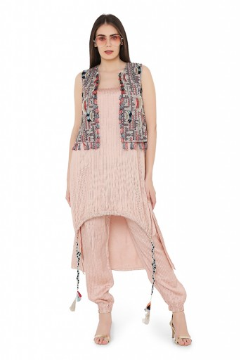 PS-FW707-A  Grey Colour Georgette Jacket with Rose Pink Colour Chanderi Stripe High-Low Kurta and Jogger Pant