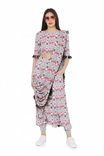 PS-FW810  Grey Colour Printed Art Crepe Balloon Top and Low Crotch Pant with Attached Printed Art Georgette Drape Dupatta