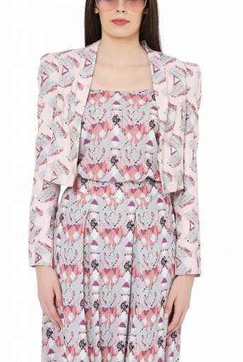 PS-FW809  Grey Colour Printed Art Crepe Camisole with Low Crotch Pant and Pink Colour Printed Art Crepe Jacket