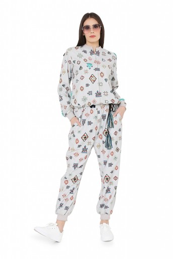 PS-FW792  Grey Colour Printed Art Crepe Jumpsuit
