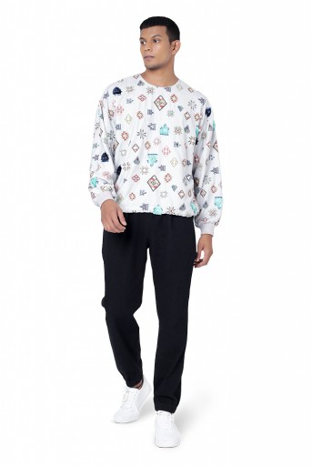 PS-FW793  Grey Colour Printed Art Crepe Oversized Top with Black Colour Denim Jogger Pant