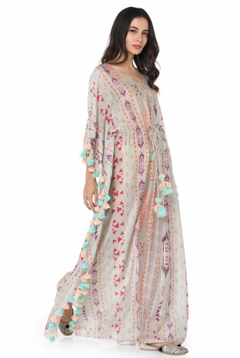 PS-KF0048-B  Grey Colour Printed Silkmul Kaftaan
