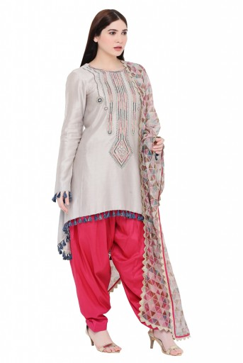 PS-KS0005-A  Grey Colour Silkmul Kurta with Coral Colour Cotton Silk Salwar and Tissue Dupatta