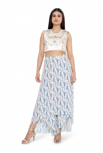 PS-TS0006-B-1  Grey Colour Velvet Choli with Grey Printed Crepe Skirt Palazzo