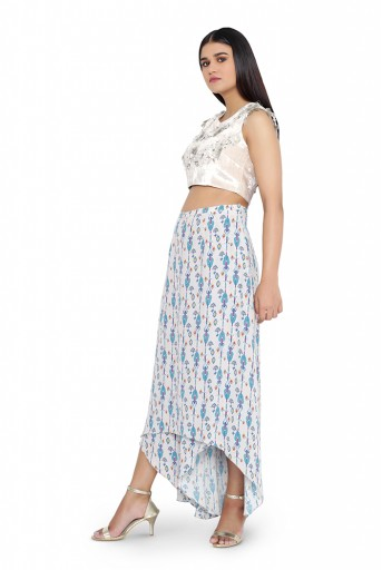 PS-TS0006-B-1  Grey Colour Velvet Choli with Grey Printed Crepe Skirt Palazzo