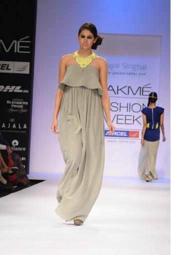 PS-FW149 Grey Crepe Ruffle Dress