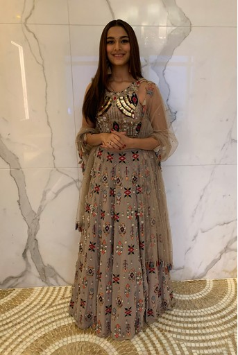PS-FW628-A  Grey Georgette Choli and Lehenga with Mukaish Net Dupatta