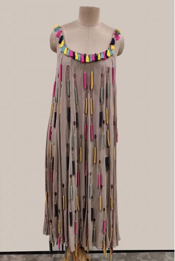 PS-DR0011-1 Grey Georgette Dress
