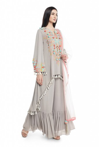 PS-KP0015-A  Grey Georgette High-Low Kurta with Frill Palazzo and Net Dupatta