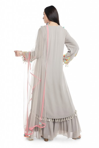 PS-KP0015-A-1  Grey Georgette High-Low Kurta with Frill Palazzo and Net Dupatta