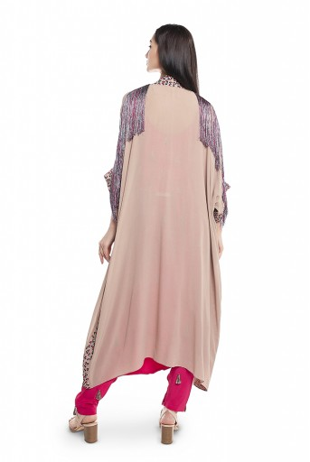 PS-FW639-C  Grey Georgette Jacket with Cranberry crepe Two Layer Top and Low Crotch Pant
