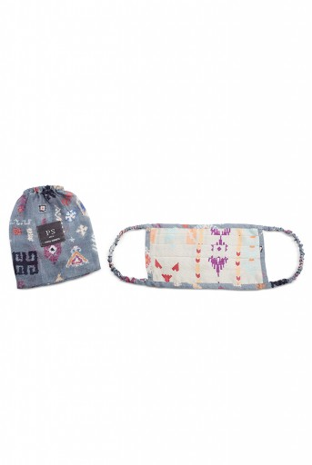 PS-MS0029  PS Men Grey Ikat Stripe and Blue Bandhani Kilim Print Pleated 3 Ply Mask with Pouch for Men