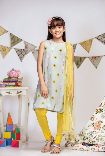 PS-KG0008 Grey Printed Crepe Balloon Kurta with Yellow Soft Net Churidar and Net Dupatta