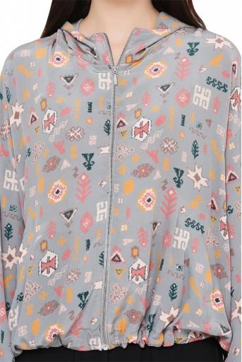 PS-JK0029-C  Grey Printed Crepe Jacket