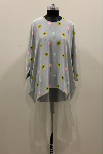 PS-TU1149-3 Grey Printed Crepe with Grey Organza Kaftaan Tunic