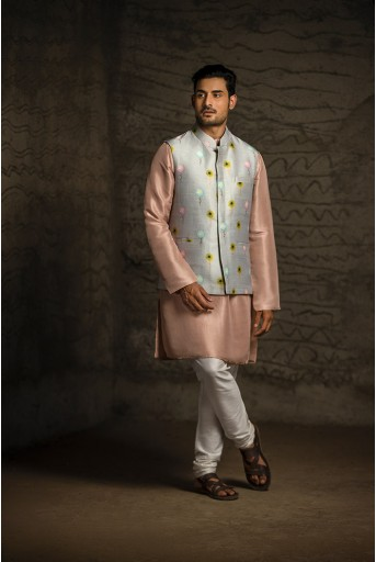 PS-MN079 Grey Printed Dupion Silk Bandi with Rose Pink Silk Kurta and Off White Cotton Silk Churidar