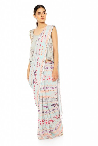 PS-FW617-C  Grey Printed Georgette Top with Grey Printed Georgette Saree