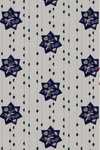 PS-TU1417  Grey Star Print Full Width Scarf