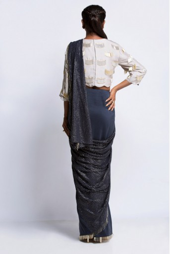 PS-ST0911 Grey Silk Choli with Navy Silk and Mukaish Georgette Saree