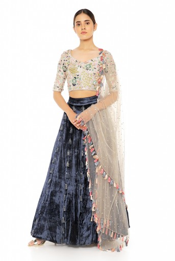 PS-ST1473  Grey Silk Choli with Navy Velvet Lehenga and Grey Dot Mukaish Net Dupatta
