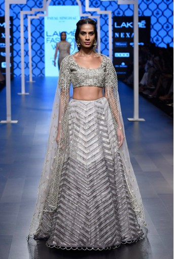 PS-FW496-1  Grey Silk Colour Choli with Light and Dark Grey Colour Net Lehenga and Net Dupatta