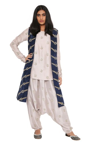 PS-FW398-C-1 Grey Silk Kurta and Low Crotch Pant with Navy Silk Jacket