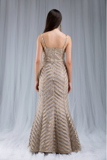 PS-ST0986 Grey Silk with Net and Brocade Gown