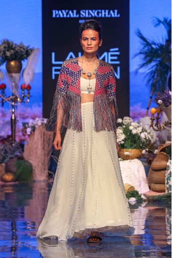 PS-FW638 Gul Chalk White Georgette Jacket with Bustier and Lehenga
