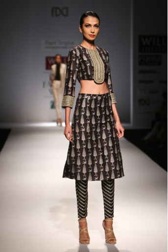 PS-FW286 Gulbahar  Printed Silkmul Choli with Printed Skirt and Attached Black Dupion Silk Churidar