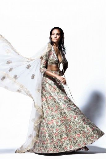 PS-FW394 Gulbano Ecru Brocade Silk Choli and Lehenga
