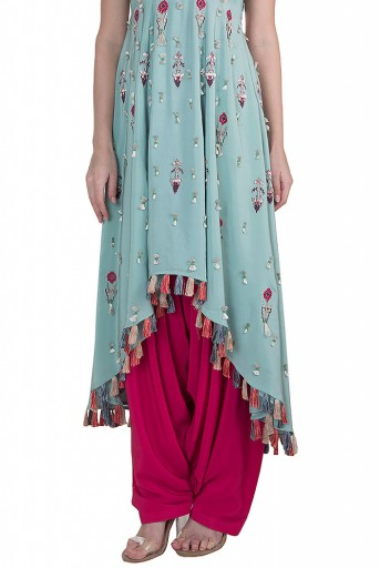 PS-FW621 Gulbar Periwinkle Blue Crepe High-Low Kurta with Cranberry Crepe Salwar
