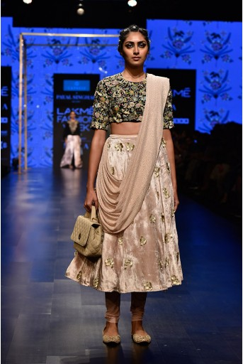 PS-FW570 Gulzar Stone Crepe Choli and Stone Velvet and Soft Net Churidar Skirt with attached Mukaish Georgette Drape