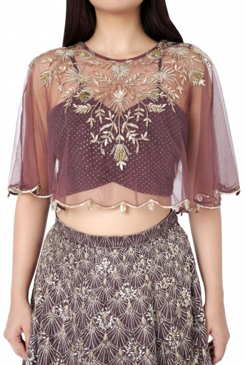 PS-ST0885-D-2  Gunmetal Brown Colour Net Cape with Mukaish Georgette Bustier and Silk Lehenga