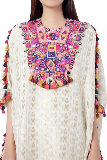 PS-FW755  Hafsa Chalk White Colour Ikat Brocade Georgette Embroidered Short Kaftaan with Palazzo
