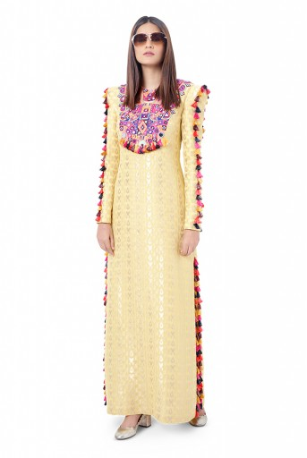 PS-FW756  Hasana Pale Yellow Colour Ikat Brocade Georgette Embroidered Kaftaan