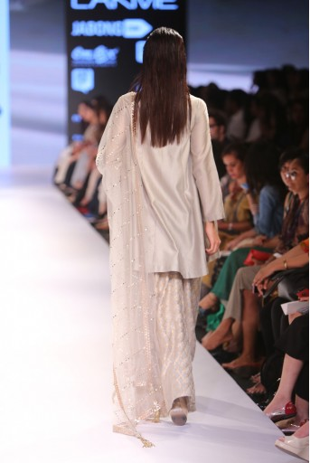 PS-FW366 Hasina Grey Silkmul Kurta with Banarsi Palazzo and Mukaish Net Dupatta