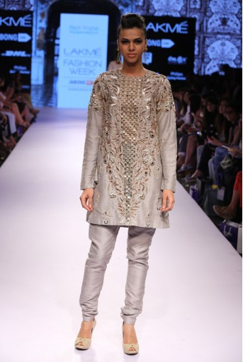 PS-FW323 Hayat Grey Dupion Silk Kurta with Cigarette Pant