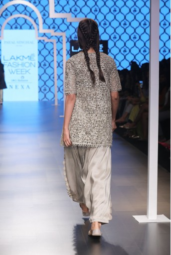 PS-FW495 Heba Grey Silk Bustier and Salwar with Overlay Kurta