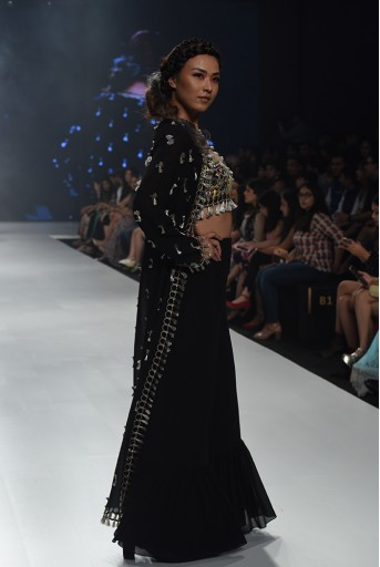 PS-FW659-B-4  Helina Black Georgette Choli with Jacket and Frill Palazzo