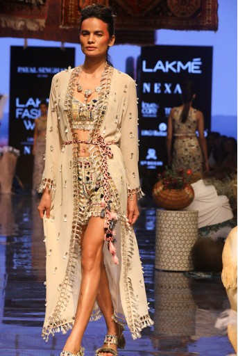 PS-FW659 Helina Stone Georgette Bustier and Shorts with Duster Jacket