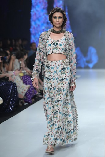 PS-FW659F Heline Pink Printed Georgette Jacket with White Printed Crepe Bustier and Sharara Pant