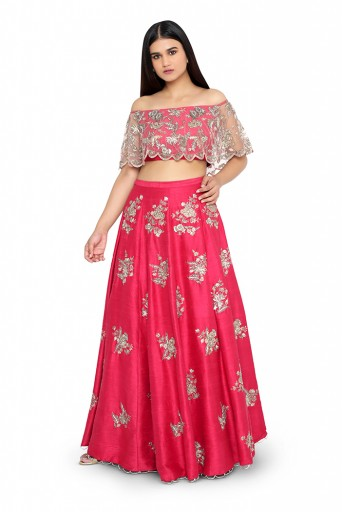PS-ST0972-G-1  Hot Pink Colour Net and Dupion Silk Choli with Dupion Silk Lehenga