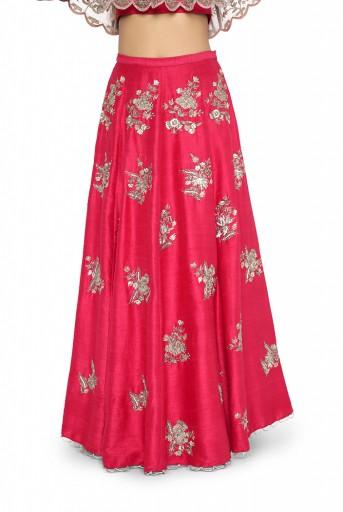 PS-ST0972-G-1  Hot Pink Colour Net and Dupion Silk Choli with Dupion Silk Lehenga