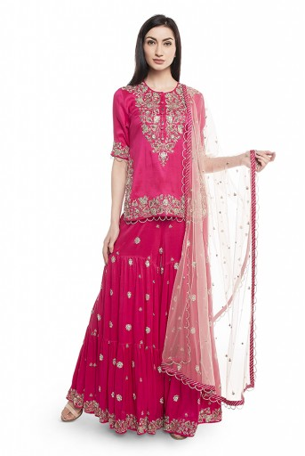 PS-ST1265-C  Hot Pink Silk Kurta with Sharara and Rose Pink Net Dupatta