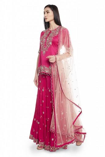 PS-ST1265-C  Hot Pink Silk Kurta with Sharara and Rose Pink Net Dupatta