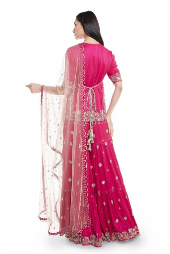 PS-ST1265-C-1  Hot Pink Silk Kurta with Sharara and Rose Pink  Net Dupatta