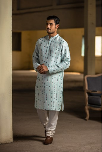 PS-MN075 Ice Blue Printed Silk Kurta with Off White Cotton Silk Churidar